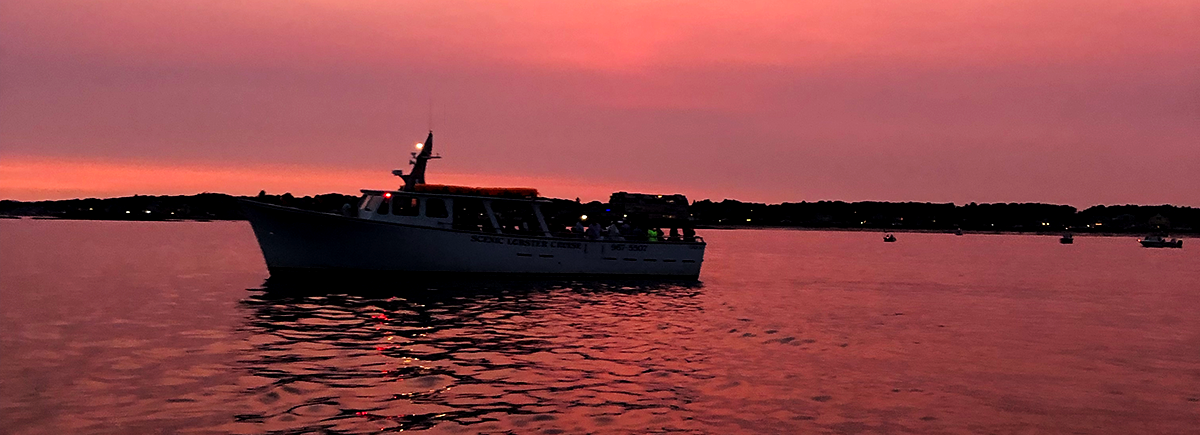 A boat in the pink light of sunset on the ocean